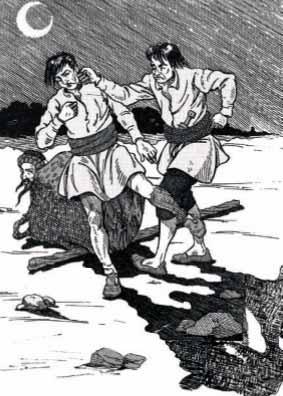 جحا يشاهد واللصان يتقاتلان