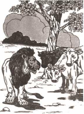 قصة-جحا-الأسد-والثيران-الثلاثة